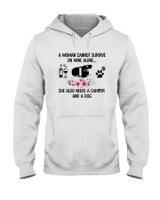 WOMAN SURVIVE WINE CAMPER DOG Hooded Sweatshirt thumbnail