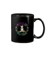 I AM MOSTLY PEACE LOVE AND CATS Mug tile