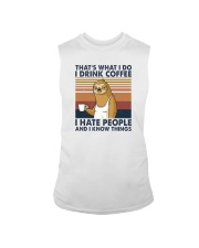 THAT'S WHAT I DO I DRINK COFFEE I HATE PEOPLE 1 Sleeveless Tee thumbnail