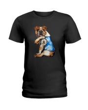 I LOVE MOM BULLDOG Ladies T-Shirt thumbnail