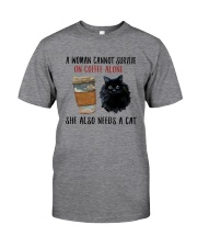 WOMAN SURVIVE ON COFFEE AND A CAT Classic T-Shirt front