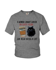 WOMAN SURVIVE ON COFFEE AND A CAT Youth T-Shirt thumbnail