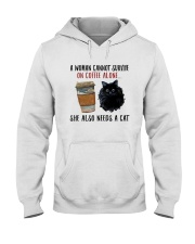 WOMAN SURVIVE ON COFFEE AND A CAT Hooded Sweatshirt thumbnail