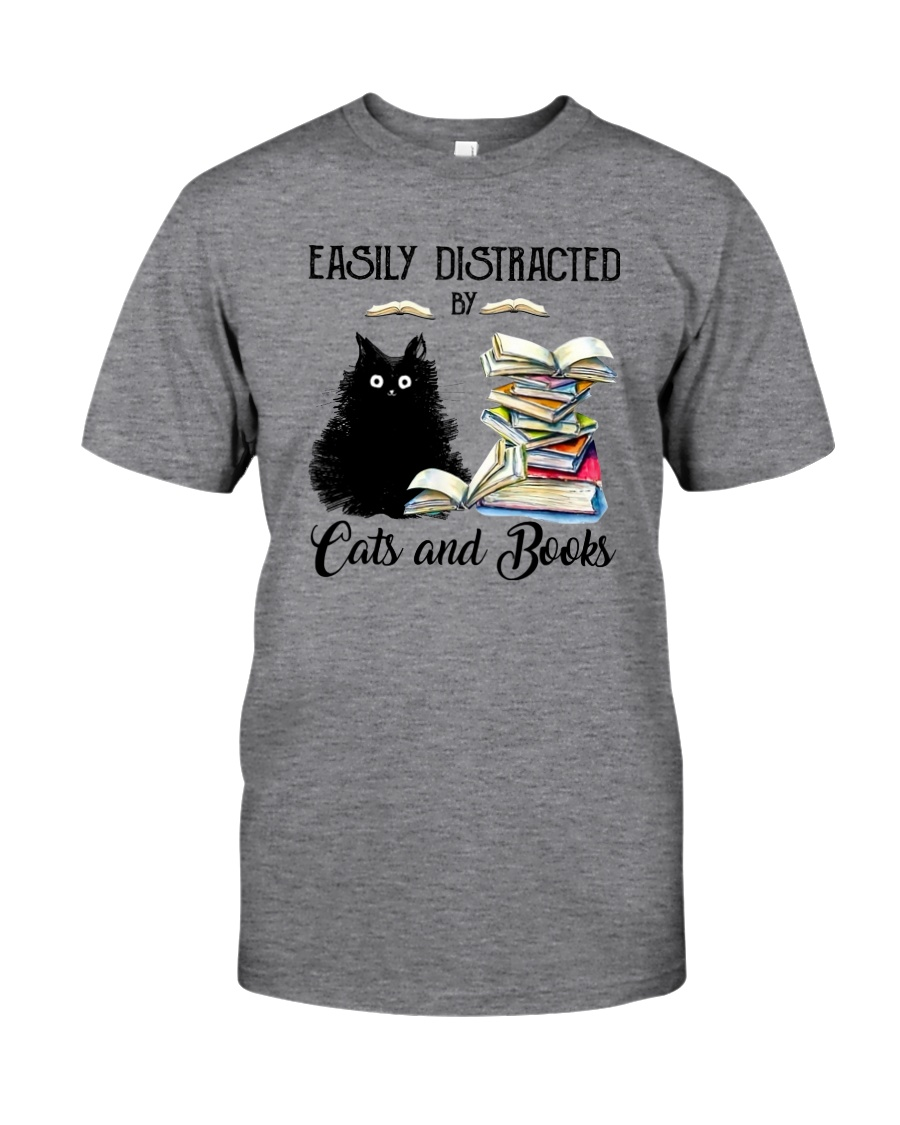 EASILY DISTRACTED BT CATS AND BOOKS Classic T-Shirt