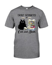 EASILY DISTRACTED BT CATS AND BOOKS Classic T-Shirt front