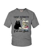 EASILY DISTRACTED BT CATS AND BOOKS Youth T-Shirt thumbnail