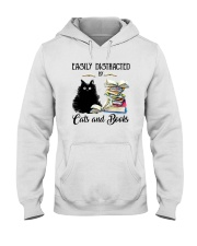 EASILY DISTRACTED BT CATS AND BOOKS Hooded Sweatshirt thumbnail