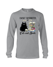 EASILY DISTRACTED BT CATS AND BOOKS Long Sleeve Tee thumbnail