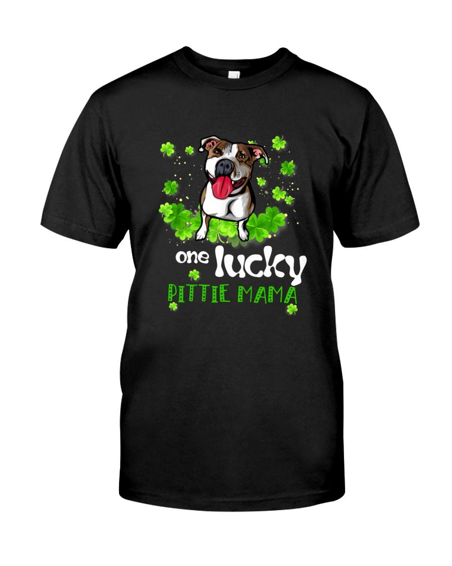 ONE LUCKY PITBULL MAMA Classic T-Shirt
