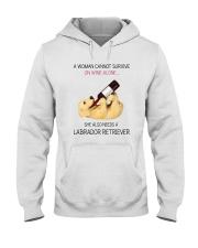 A WOMAN NEEDS WINE AND LADRADOR Hooded Sweatshirt thumbnail