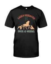 EASILY DISTRACTED BY DOGS AND HORSES Classic T-Shirt front