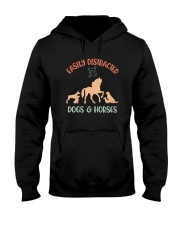 EASILY DISTRACTED BY DOGS AND HORSES Hooded Sweatshirt thumbnail