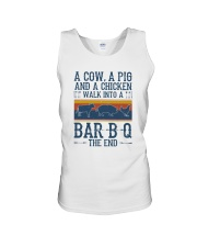 A COW A PIG A CHICKEN WALK INTO A BARBQ Unisex Tank thumbnail