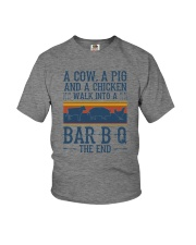 A COW A PIG A CHICKEN WALK INTO A BARBQ Youth T-Shirt thumbnail