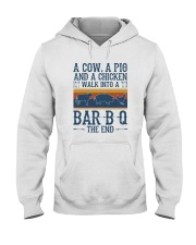 A COW A PIG A CHICKEN WALK INTO A BARBQ Hooded Sweatshirt thumbnail