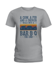 A COW A PIG A CHICKEN WALK INTO A BARBQ Ladies T-Shirt tile