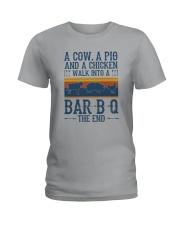 A COW A PIG A CHICKEN WALK INTO A BARBQ Ladies T-Shirt thumbnail