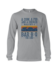 A COW A PIG A CHICKEN WALK INTO A BARBQ Long Sleeve Tee thumbnail