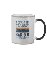 A COW A PIG A CHICKEN WALK INTO A BARBQ Color Changing Mug thumbnail