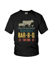 COW PIG CHICKEN WALK INTO A BAR-B-Q Youth T-Shirt tile