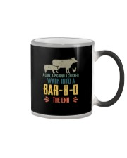 COW PIG CHICKEN WALK INTO A BAR-B-Q Color Changing Mug tile