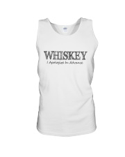 WHISKEY APOLOGIZE IN ADVANCE Unisex Tank tile