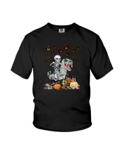 SKULL RIDE DINOSAUR HALLOWEEN Youth T-Shirt thumbnail