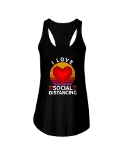 I LOVE SOCIAL DISTANCING 2 Ladies Flowy Tank thumbnail