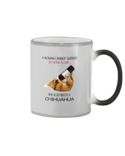 A WOMAN NEEDS WINE AND CHIHUAHUA Color Changing Mug tile