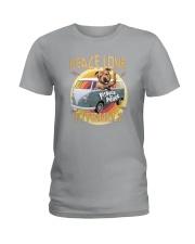 PEACE LOVE AND PITBULLS Ladies T-Shirt thumbnail