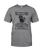 A Girl Who Really Loved CATs And Tattoos Classic T-Shirt front