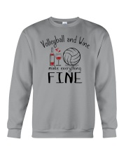 Volleyball And Wine Make Everything Fine Crewneck Sweatshirt thumbnail