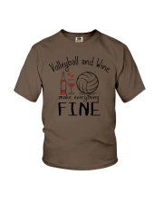 Volleyball And Wine Make Everything Fine Youth T-Shirt thumbnail