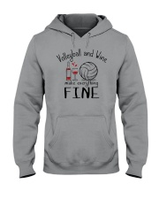 Volleyball And Wine Make Everything Fine Hooded Sweatshirt thumbnail