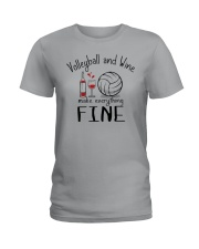 Volleyball And Wine Make Everything Fine Ladies T-Shirt thumbnail