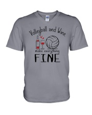 Volleyball And Wine Make Everything Fine V-Neck T-Shirt thumbnail