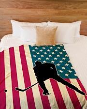 "Hockey Funny Flag US Graphic Design Large Fleece Blanket - 60"" x 80"" aos-coral-fleece-blanket-60x80-lifestyle-front-02"