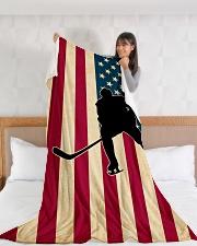 "Hockey Funny Flag US Graphic Design Large Fleece Blanket - 60"" x 80"" aos-coral-fleece-blanket-60x80-lifestyle-front-11"