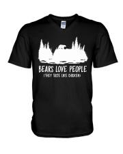 Hiking-Bears love people V-Neck T-Shirt thumbnail