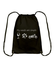 My Needs Are Simple Motorcycle Drawstring Bag thumbnail
