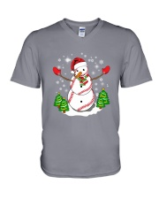 Baseball Christmas Snowman V-Neck T-Shirt tile