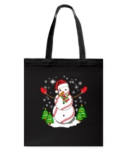 Baseball Christmas Snowman Tote Bag tile