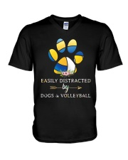 Easily Distracted By Dogs And Volleyball  V-Neck T-Shirt thumbnail