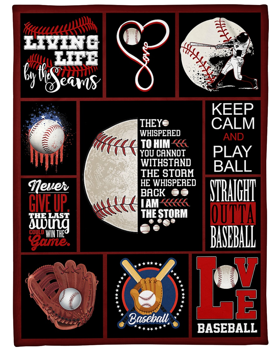 "Baseball Funny Never Give Up Graphic Design Large Fleece Blanket - 60"" x 80"""