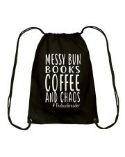 BOOK - Books coffee and chaos Drawstring Bag thumbnail