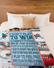 """Hockey Funny I Don't Play To Win Graphic Design Large Fleece Blanket - 60"""" x 80"""" aos-coral-fleece-blanket-60x80-lifestyle-front-02"""