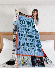 """Hockey Funny I Don't Play To Win Graphic Design Large Fleece Blanket - 60"""" x 80"""" aos-coral-fleece-blanket-60x80-lifestyle-front-11"""
