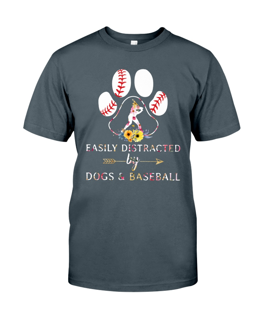 Easily Distracted By Dogs And Baseball Classic T-Shirt