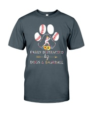 Easily Distracted By Dogs And Baseball Classic T-Shirt front