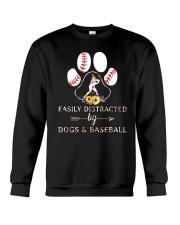 Easily Distracted By Dogs And Baseball Crewneck Sweatshirt thumbnail